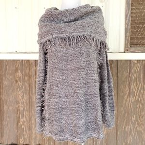 Knox Rose wrap fringe sweater brown size S